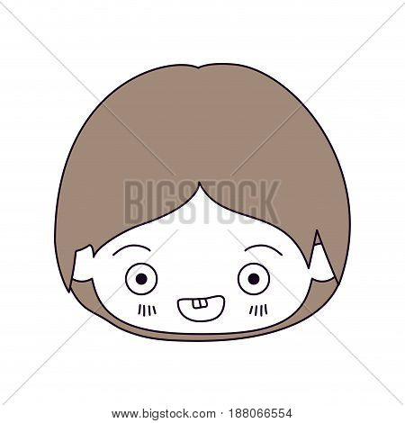 silhouette color sections and light brown hair of kawaii head of little boy smiling in closeup vector illustration
