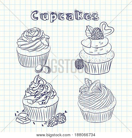 Vector scetch cupcake with sheet background with format eps10