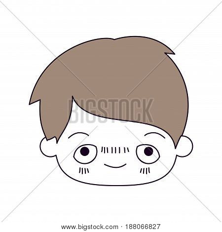 silhouette color sections and light brown hair of kawaii head of little boy with embarrassed facial expression vector illustration