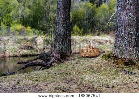 Wooden Woven Basket In Front Of Forest River