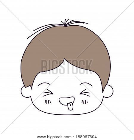 silhouette color sections and light brown hair of kawaii head of little boy with facial expression funny with closed eyes vector illustration