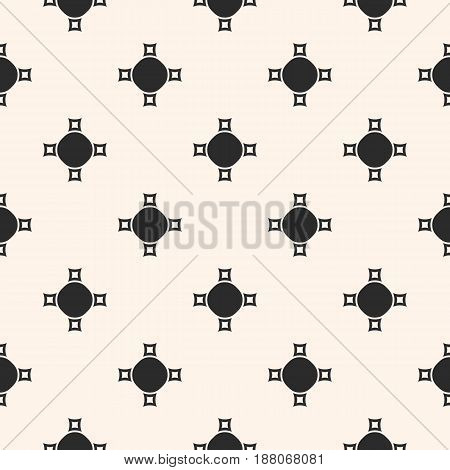 Vector monochrome seamless texture, abstract geometric pattern with simple figures, crosses circles smooth, perforated squares. Stylish background in pastel colors repeat tiles. Design for decor