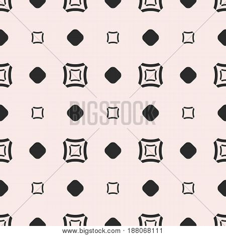 Vector seamless pattern, subtle geometric monochrome texture with simple figures, smooth outline squares circles staggered grid. Abstract repeat background. Design for tileable, print, decoration