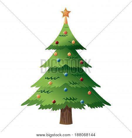 decorated christmas tree with star, color balls. merry christmas style vector illustration