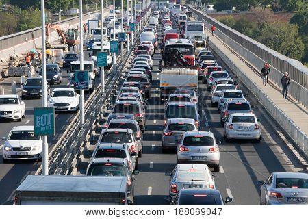 Traffic Jam On The Nusle Bridge In Prague
