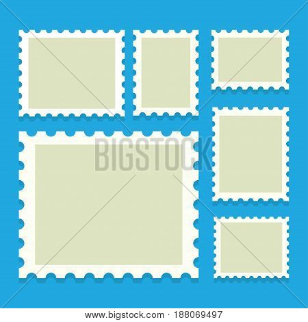 blank postage stamps templates with place for your images. Vector Illustration