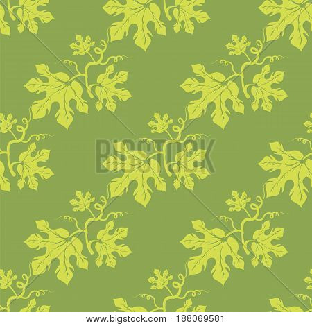Summer Leaves Isolated on Green Background. Seamless Different Leaves Pattern