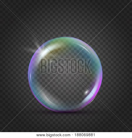 Colorful realistic bubble with rainbow reflection and blink. Liquid cleaning soap foam for bath and shower. Shampoo foam on transparent background. Isolated blowing soap bubble. Vector EPS 10.