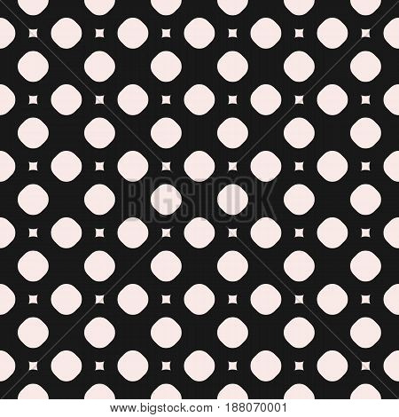 Vector monochrome seamless pattern, simple geometric texture with circles and smooth squares. Illustration of perforated surface. Abstract dark repeat background. Design for prints, decor, furniture