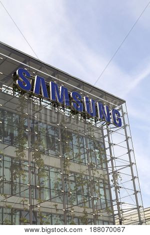 Prague, Czech Republic - May 22: Samsung Company Logo On Headquarters Building On May 17, 2017 In Pr