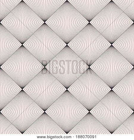 Vector seamless pattern, modern subtle background with thin lines, halftone squares, optical illusion. Monochrome geometric texture. Abstract design element for prints, decor, digital, web, furniture