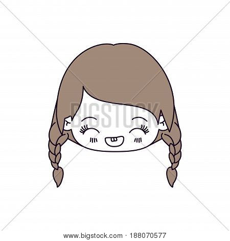 silhouette color sections and light brown hair of kawaii head little girl with braided hair and facial expression laughing vector illustration