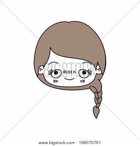 silhouette color sections and light brown hair of kawaii head cute little girl with braided hair and embarrassed facial expression vector illustration