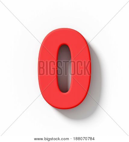 Number 0 3D Red Isolated On White With Shadow - Orthogonal Projection