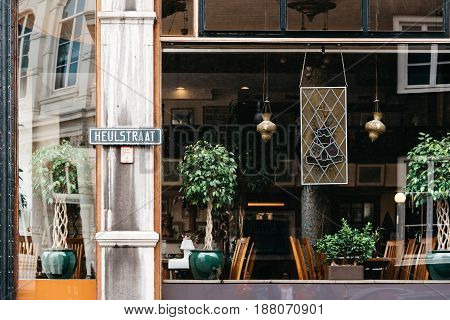 The Hague The Netherlands - August 7 2016: Beautiful vintage restaurant in The Hague. Outdoor view