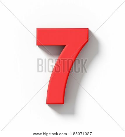 Number 7 3D Red Isolated On White With Shadow - Orthogonal Projection