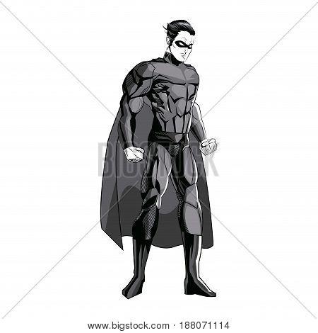 superhero figure standing proud image vector illustration