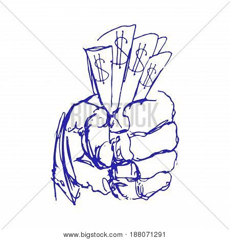 Hand Holding Money. Sketch or Doodle Hand with Money