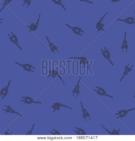 Plugs Seamless Pattern Isolated on Blue Background