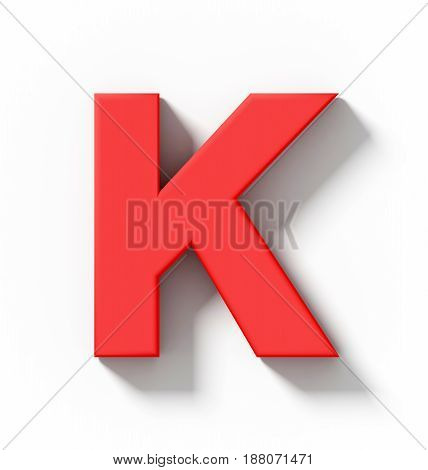 Letter K 3D Red Isolated On White With Shadow - Orthogonal Projection