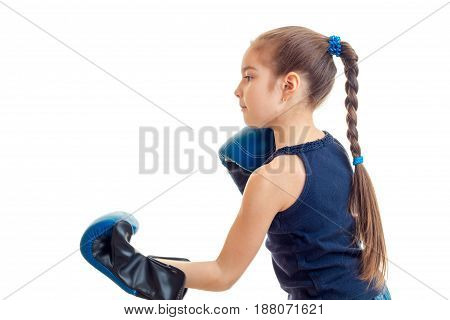 young girl practicing boxing isolated on whtie background