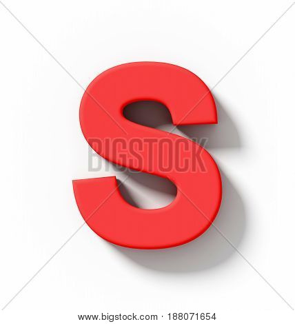 Letter S 3D Red Isolated On White With Shadow - Orthogonal Projection