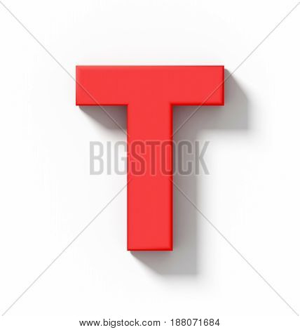 Letter T 3D Red Isolated On White With Shadow - Orthogonal Projection