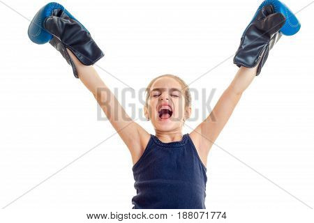 young girl wins a boxing match isolated on white background