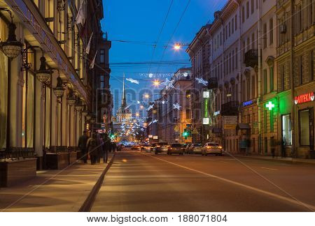 SAINT- PETERSBURG RUSSIA - DECEMBER 27 2015: Street of Saint Petersburg in the New Year's Eve in the evening light Russia