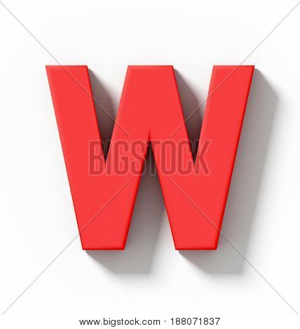 Letter W 3D Red Isolated On White With Shadow - Orthogonal Projection