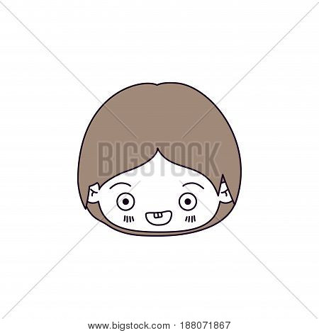 silhouette color sections and light brown hair of kawaii head of little boy smiling vector illustration