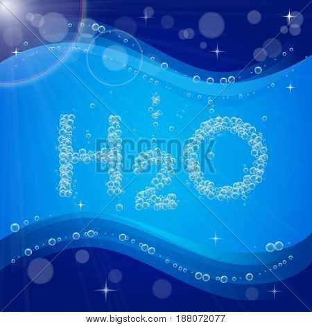 Water bubble background. Blue banner or flyer with water molecule h2o. Text made with cool bubbles. Shiny realistic foam and waves with flare, bokeh and lights. For sanitary aqua filtering, plumber.