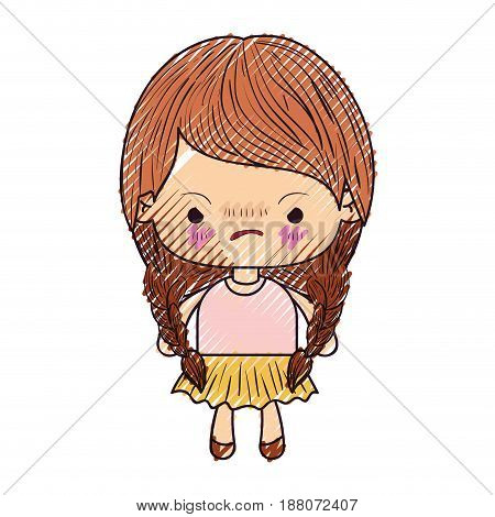 colored crayon silhouette of kawaii little girl with braided hair and facial expression angry vector illustration