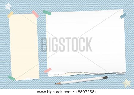 Ripped note, notebook, copybook paper stuck with sticky tape, white pencil, stars on blue wavy background
