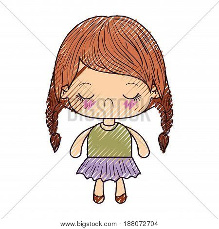colored crayon silhouette of kawaii little girl with braided hair and facial expression disgust vector illustration