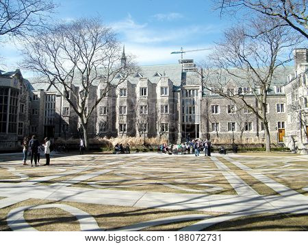 Toronto Canada - March 18 2010: Courtyard of Trinity College at University of Toronto.