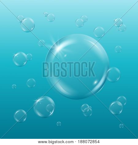 Shampoo or soap foam, bubbles in light sunny water. Turquoise underwater background with soft gradient and bubbles. Cool sea water waves, sprays and sparkles. Swimming pool banner or flyer design.