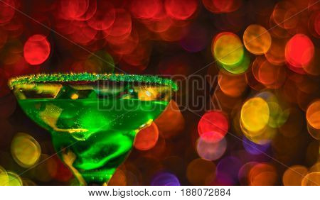 Colored Drink In Glass, Cocktail,  Night Lights Bokeh Background, Blurred Bokeh, Soft Focus