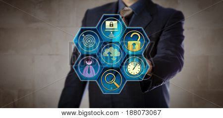 Blue chip manager pushing open virtual lock to initiate a rapid grab-and-go response. Concept for incident response data breach intrusion detection forensic analysis system backup and recovery.