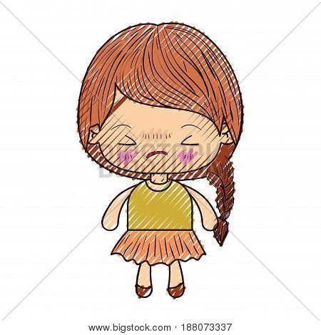 colored crayon silhouette of kawaii little girl with braided hair and facial expression angry with closed eyes vector illustration
