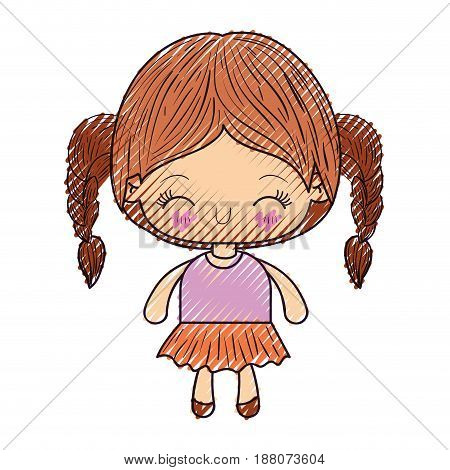 colored crayon silhouette of kawaii little girl with braided hair and facial expression happiness with closed eyes vector illustration