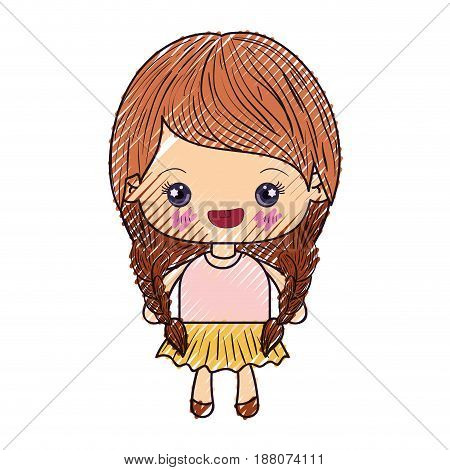 colored crayon silhouette of kawaii cute little girl with braided hair and smiling vector illustration