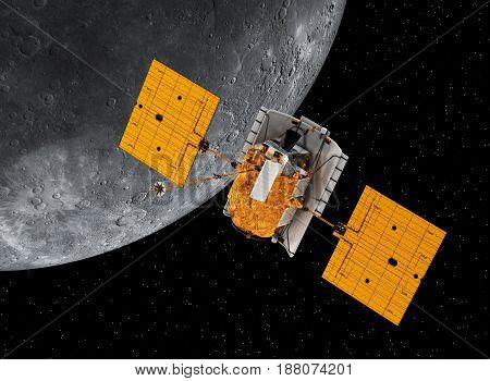 Interplanetary Space Station Orbiting Planet Mercury. 3D Illustration.