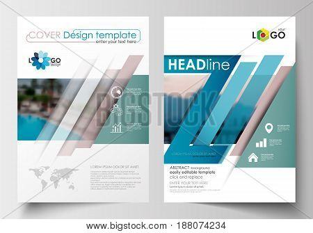Business templates for brochure, magazine, flyer, booklet. Cover design, abstract flat style travel decoration layout in A4 size, easy editable vector template, colorful blurred natural landscape