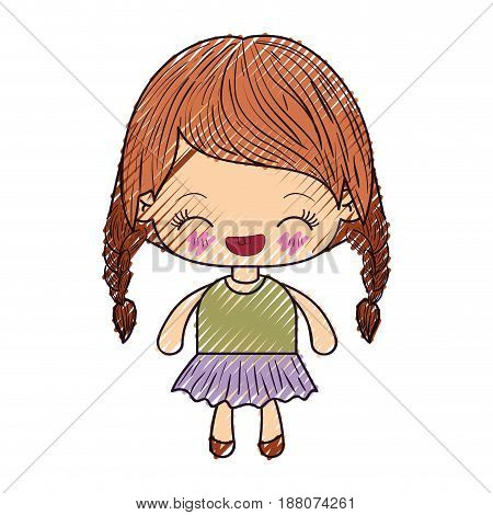 colored crayon silhouette of kawaii little girl with braided hair and facial expression laughing vector illustration