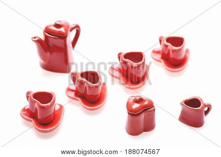 Red Romantic Set Of Tiny Red Heart Shaped Kitchenware