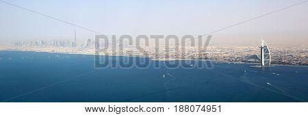 Dubai Panorama Burj Khalifa Al Arab Hotel Aerial View Photography