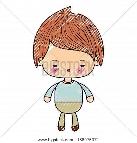 colored crayon silhouette of kawaii little boy with facial expression sad vector illustration