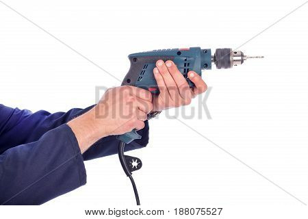 Young worker's hands holding drill isolated on white background
