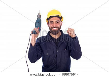 Smiling beard young worker feeling satisfied and holding driller man wearing workswear isolated on white background
